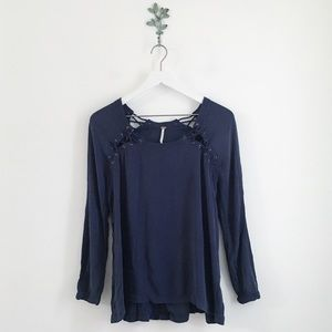 Free People Navy Lace Up Back Long Sleeve Top XS